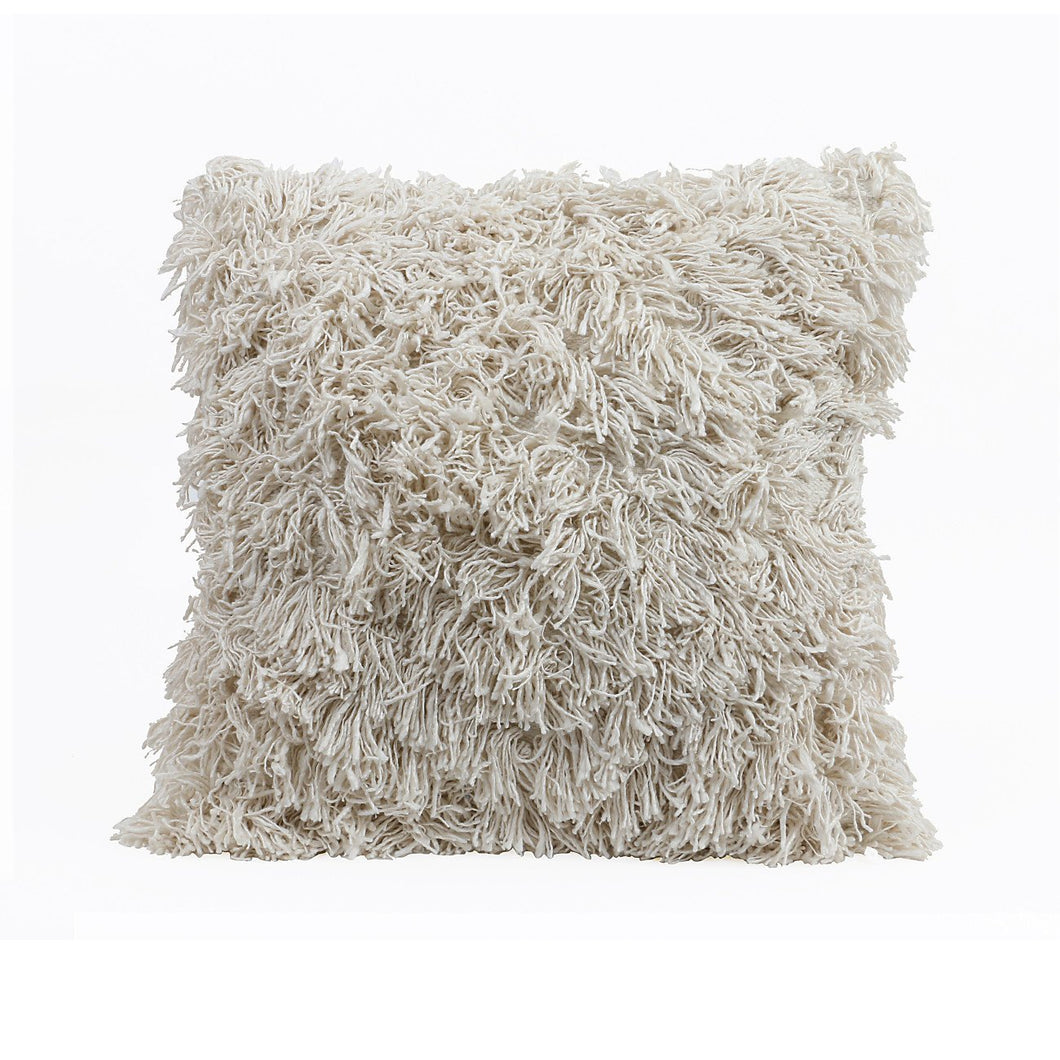 Fringe Covered Square Cream Pillow
