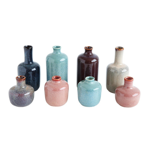 Set of 8 Multicolor Stoneware Vases