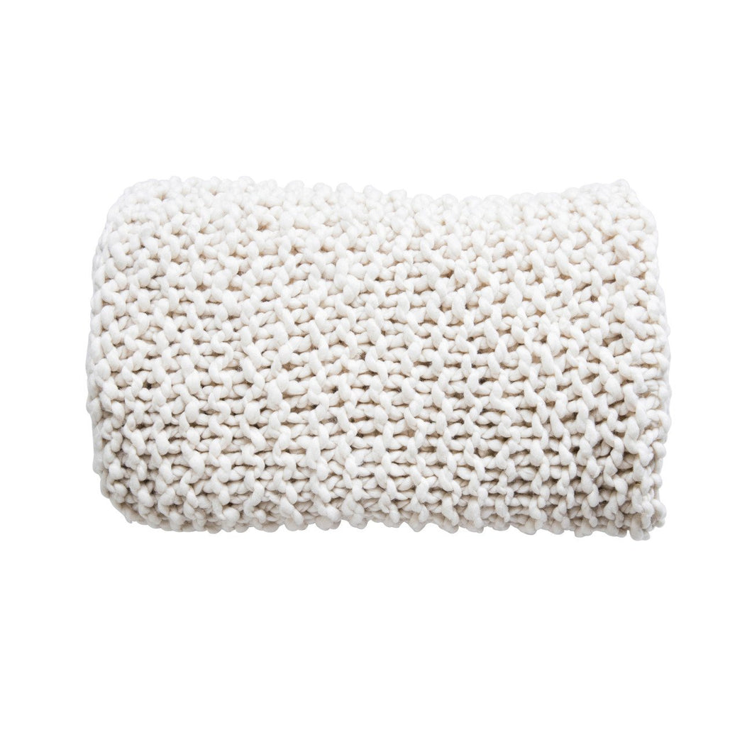 Cream Acrylic Chunky Knit Throw
