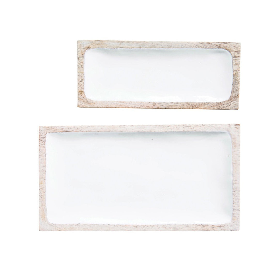 Set of 2 White Enameled Mango Wood Trays