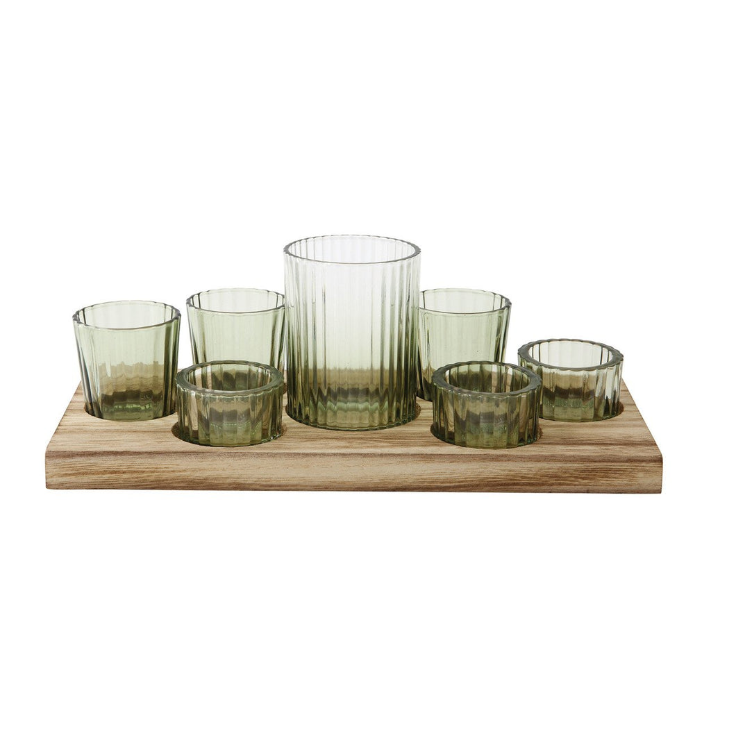 Wood Tray with 7 Green Votive Holders (Set of 8 Pieces)
