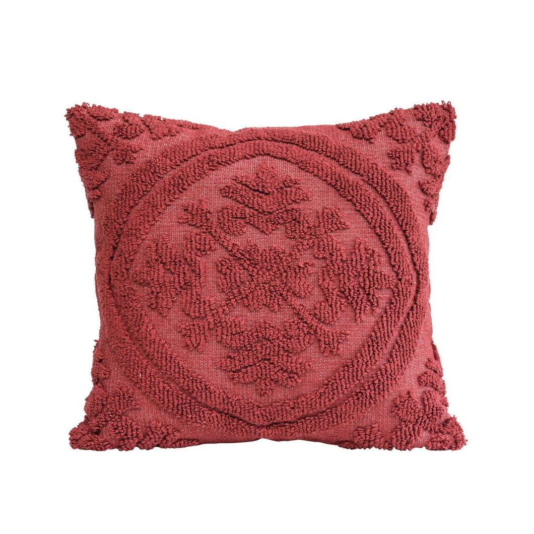 Square Wine Color Cotton Woven Looped Pillow