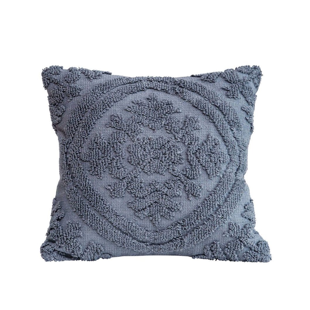 Square Grey Cotton Woven Looped Pillow