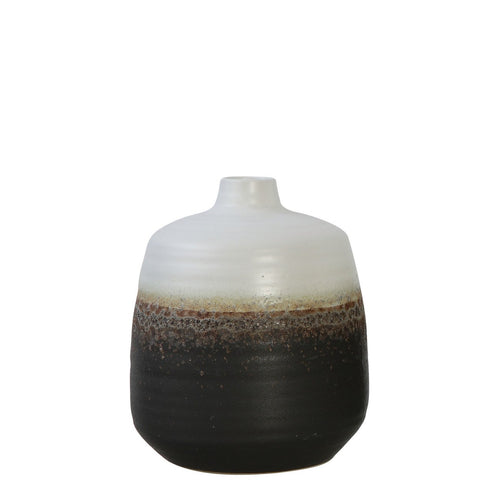 Black & White Ceramic Vase with Brown Reactive Glaze Accent