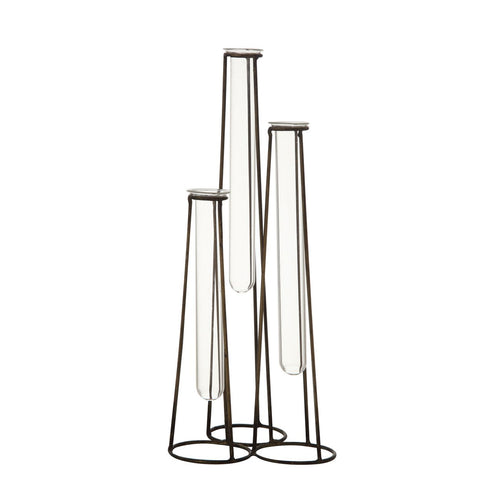 Three Test Tube Bud Vases in Metal Stand (Set of 4 Pieces)