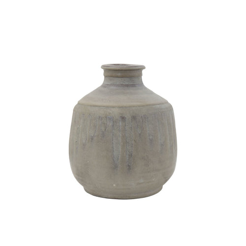 Grey Terracotta Vase with Distressed Blue Design