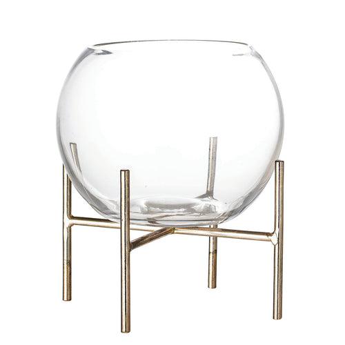 Clear Glass Ball Shaped Vase on Gold Metal Holder (Set of 2 Pieces) Default Title
