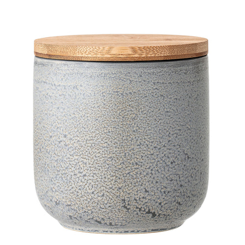 Small Glazed Grey Stoneware Canister with Bamboo Lid Default Title