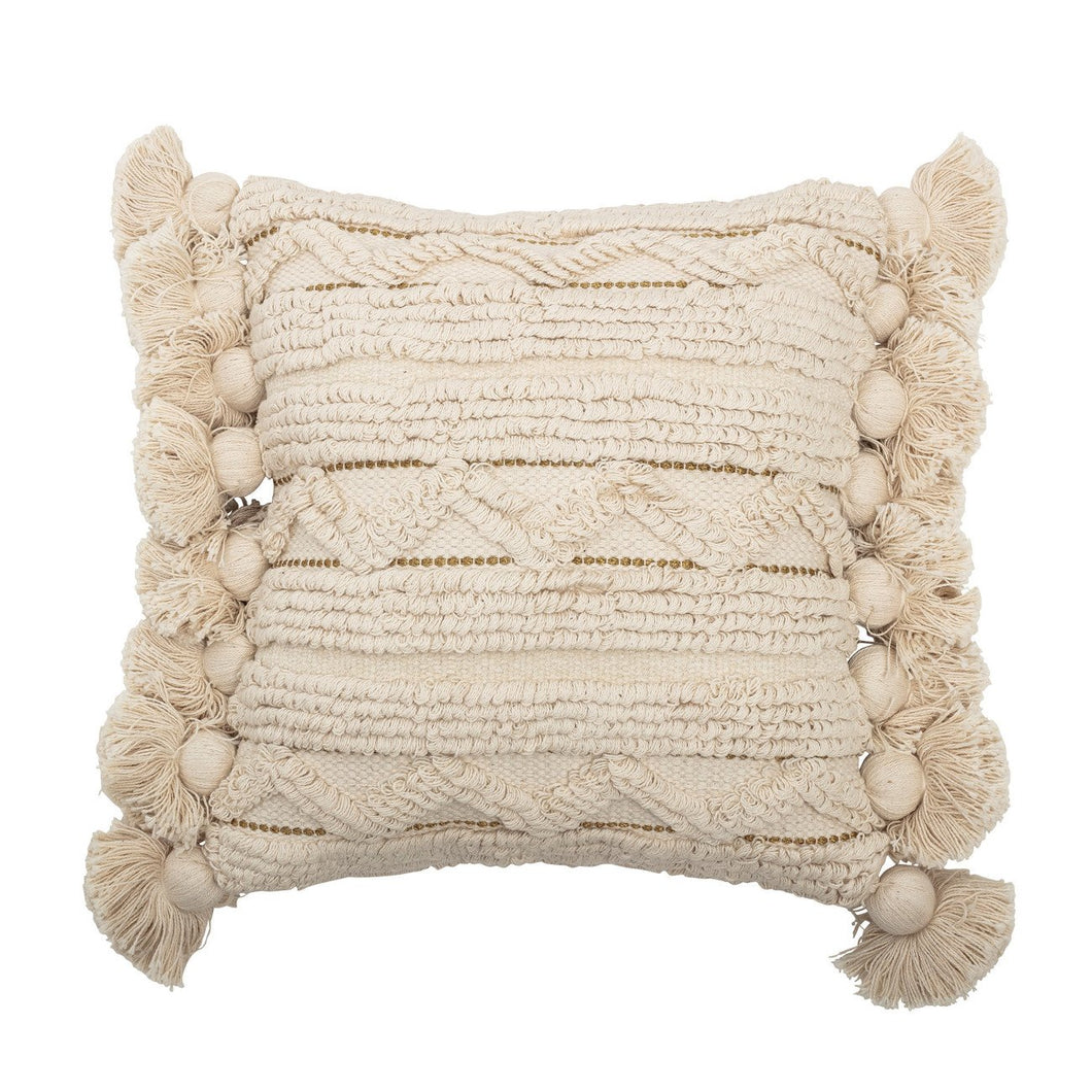 Off-White Cotton Looped Pillow with Gold Metallic Thread Accents, Tassels & Solid Off-White Back