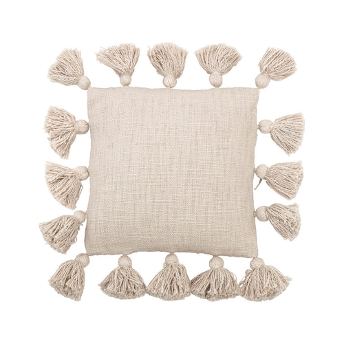 Mini Square Cream Cotton Pillow with Tassels Default Title
