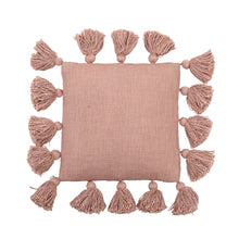 Load image into Gallery viewer, Mini Square Misty Rose Cotton Pillow with Tassels Default Title