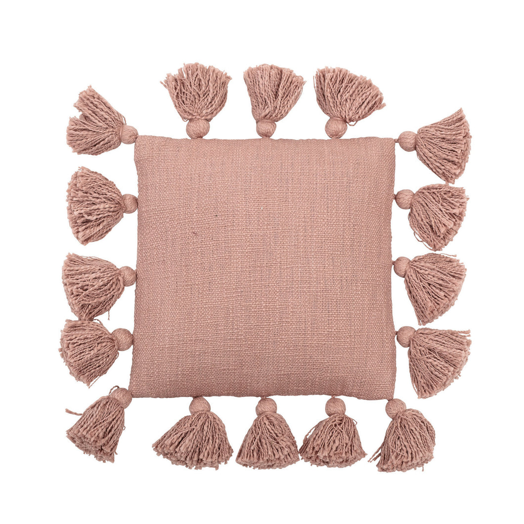 Mini Square Misty Rose Cotton Pillow with Tassels Default Title