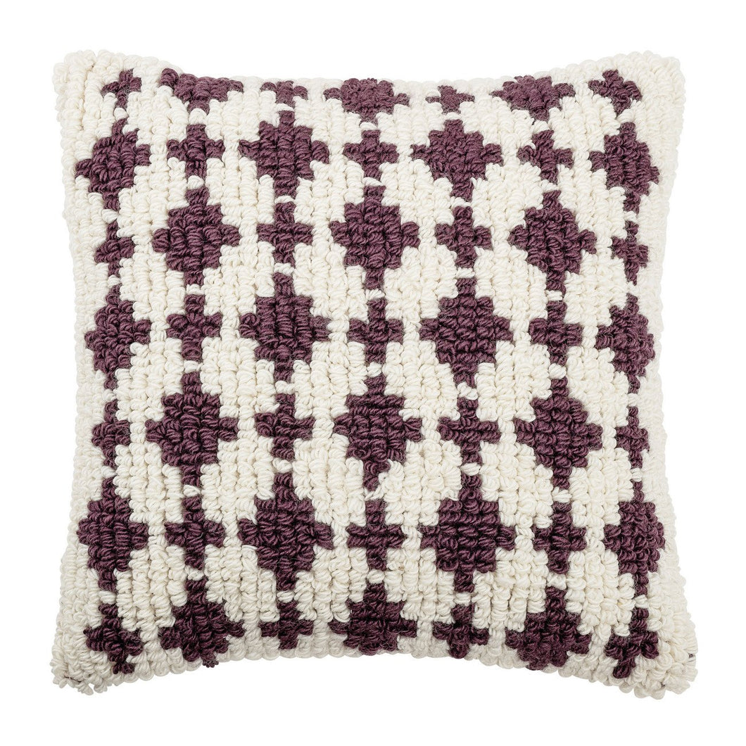 Square White & Plum Woven Wool Looped Pillow