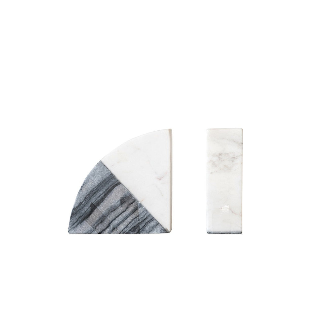 White & Grey Marble Bookends (Set of 2 Pieces)