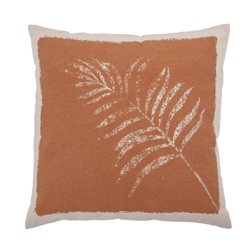 Sienna Square Cotton Printed Pillow with Palm Frond