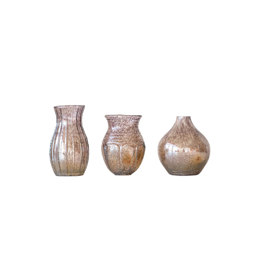 Small Plum Glass Vases with Tan & Off-White Accents (Set of 3 Shapes/Sizes) Default Title