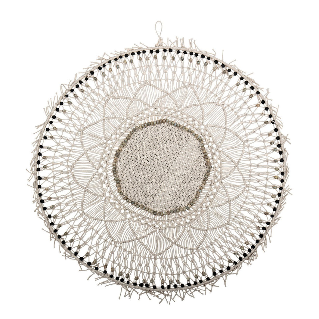 Handwoven Cotton Macramé Wall Decor with Wood Beads