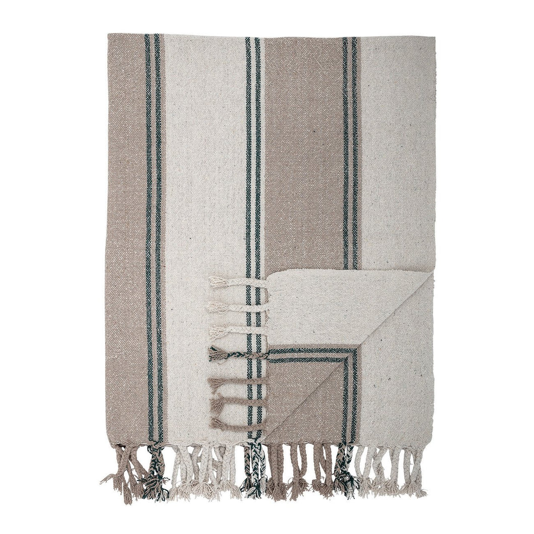 Multicolor Striped Cotton Blend Woven Throw with Fringe