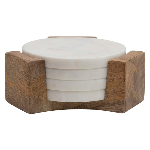 Round Marble Coasters with Mango Wood Holder (Set of 5 Pieces) Default Title