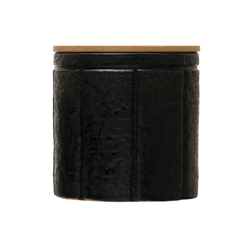 Black Stoneware Canister with Bamboo Lid Default Title