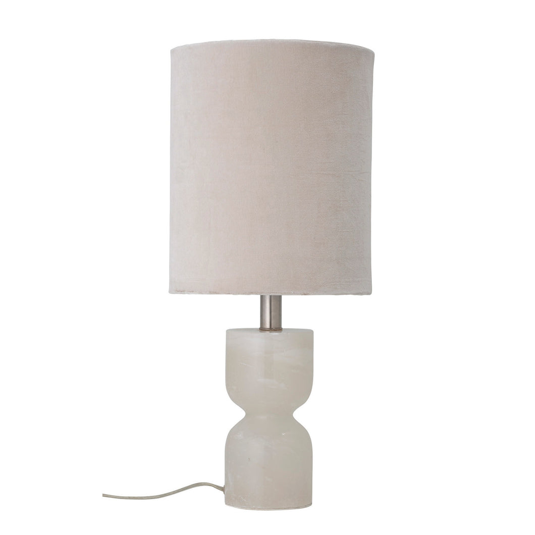 13.25 in. Alabaster Table Lamp with Cotton Velvet Shade Default Title