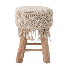 Load image into Gallery viewer, Mango Wood Stool with Macrame Default Title