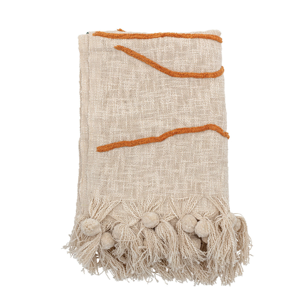 Cream Color Cotton Embroidered Throw Blanket with Tassels Default Title
