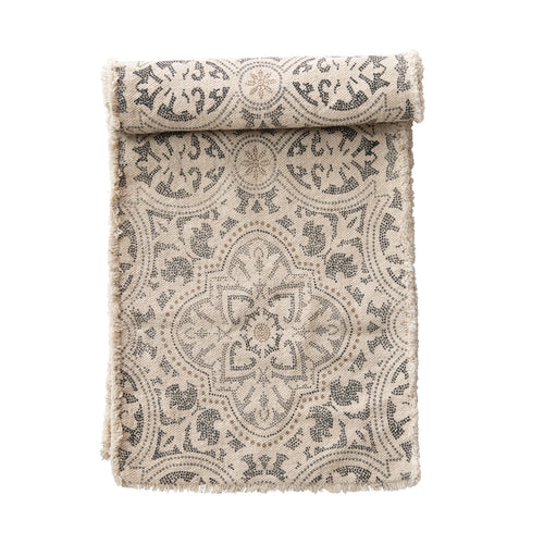 Grey and Cream Cotton Printed Table Runner with Frayed Edge Default Title