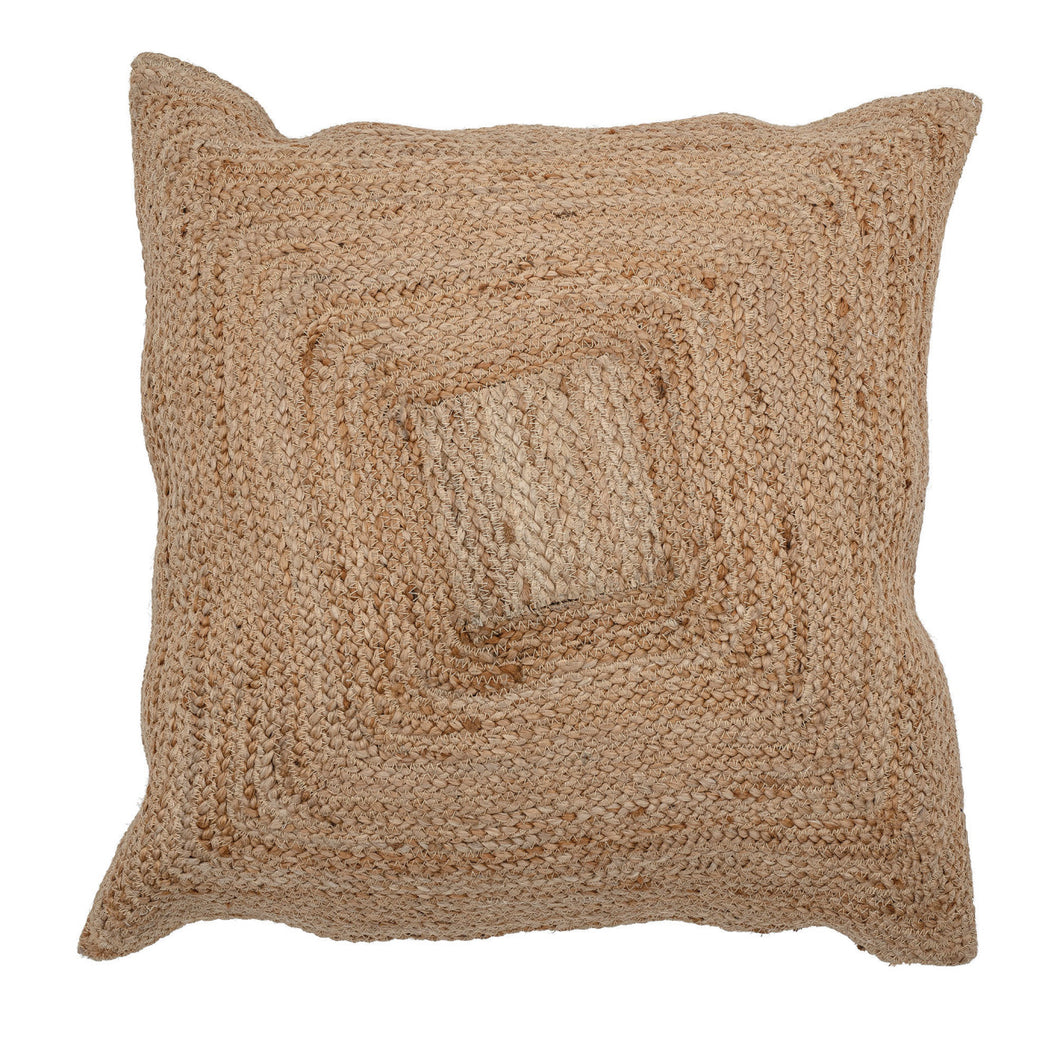Natural Square Woven Cotton and Jute Blend Pillow Default Title