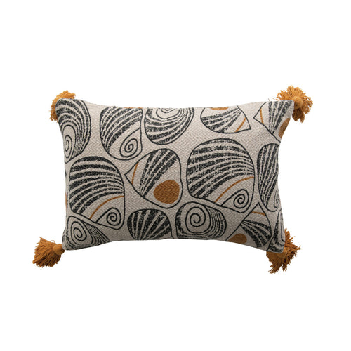 Black and Mustard Recycled Cotton Blend Printed Lumbar Pillow with Tassels Default Title