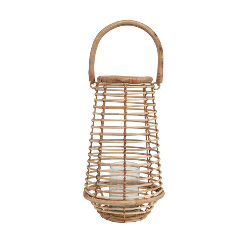 Handmade Rattan Tapered Lantern with Handle & Glass Insert, Natural (Holds 3