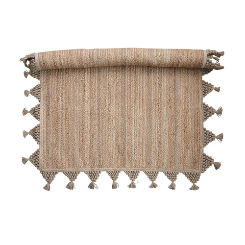 Jute Rug with Braided Tassels, Natural Default Title