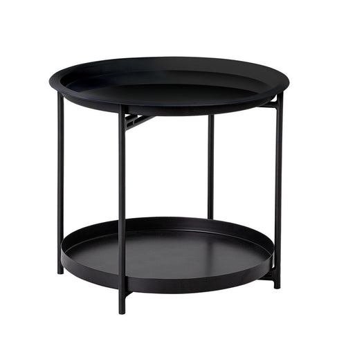 Metal 2-Tier Tray Table with Removable Trays & White & Blue Ombre Top, Black Default Title