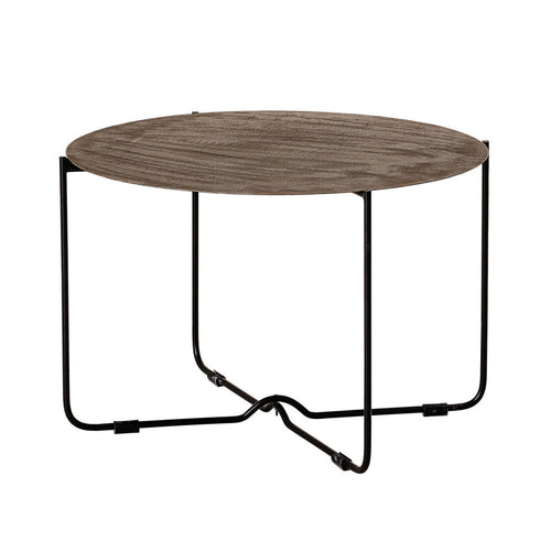 Metal Table with Matte Black Legs, Bronze Patina Finish Default Title