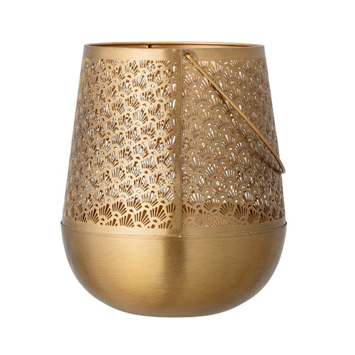 Metal Punched Lantern with Handle, Brass Finish Default Title