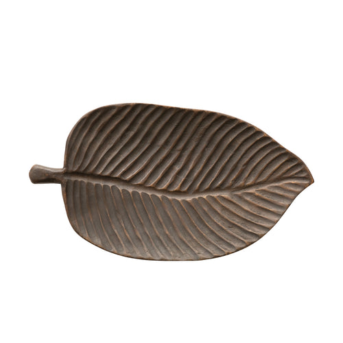 Decorative Hand-Carved Mango Wood Leaf Tray Default Title