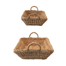 Load image into Gallery viewer, Decorative Hand-Woven Seagrass Double Walled Trays With Handles, Natural, Set of 2 Default Title