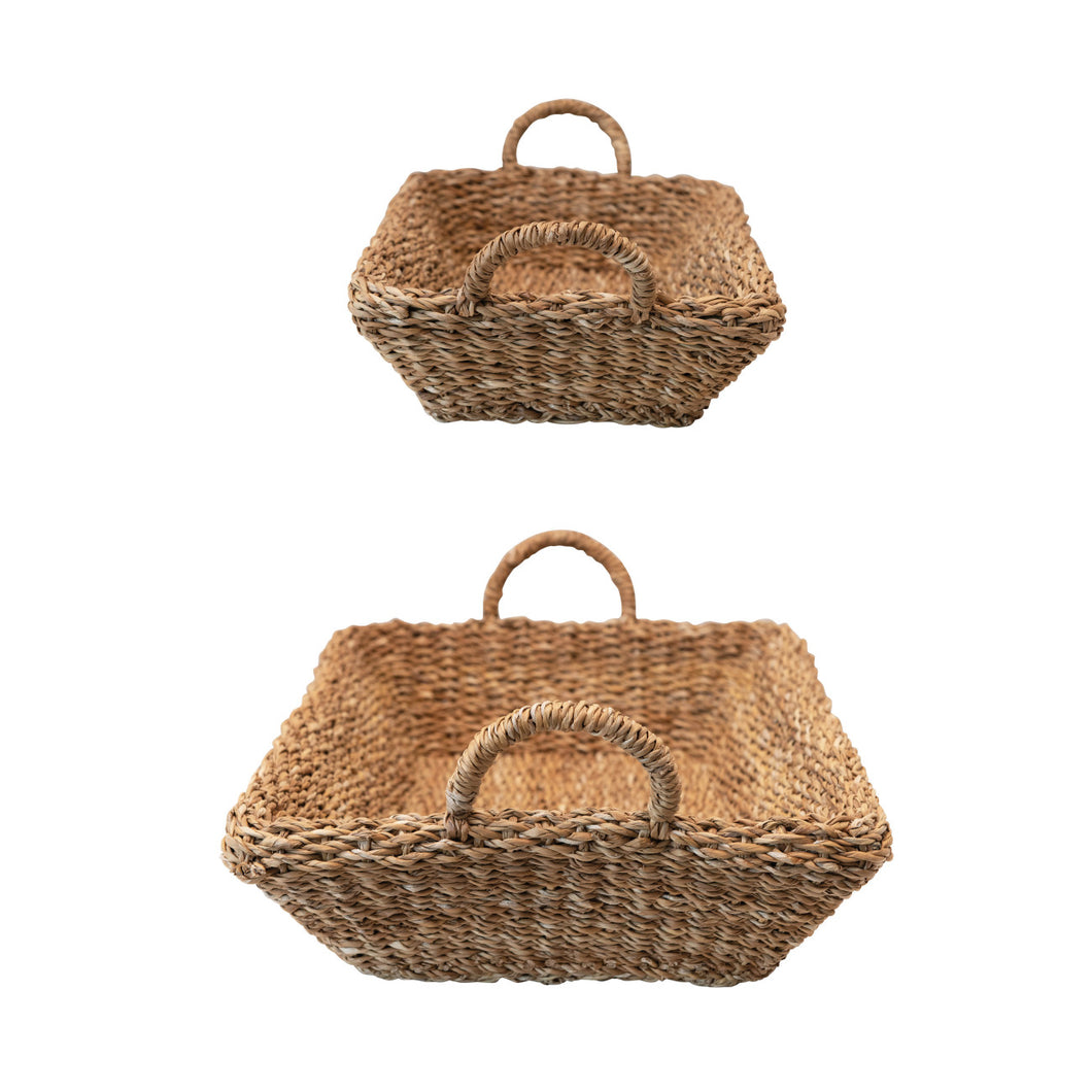Decorative Hand-Woven Seagrass Double Walled Trays With Handles, Natural, Set of 2 Default Title