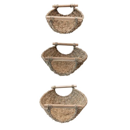 Decorative Seagrass & Metal Trays with Wood Handles, Natural, Set of 3 Default Title
