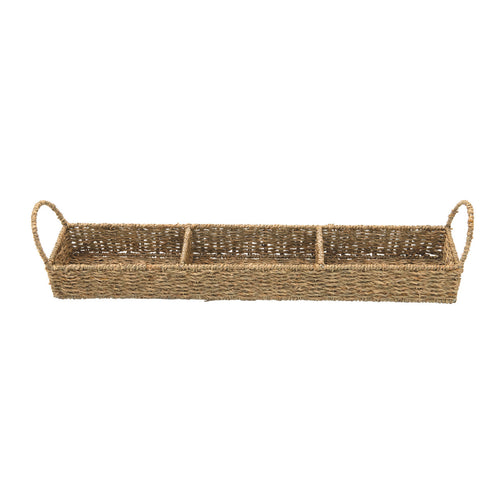 Hand-Woven Seagrass Tray with 3 Sections, Natural Default Title
