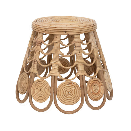 Handmade Tapered Rattan Stool, Natural Default Title