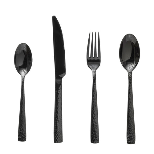 Hammered Stainless Steel Cutlery, Black, Set of 4 in Drawstring Bag Default Title
