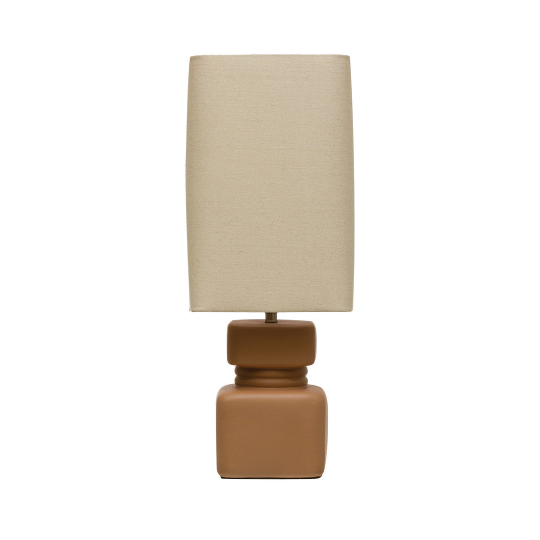 Stoneware Table Lamp with Linen Shade & Inline Switch, Terra-cotta Color Default Title