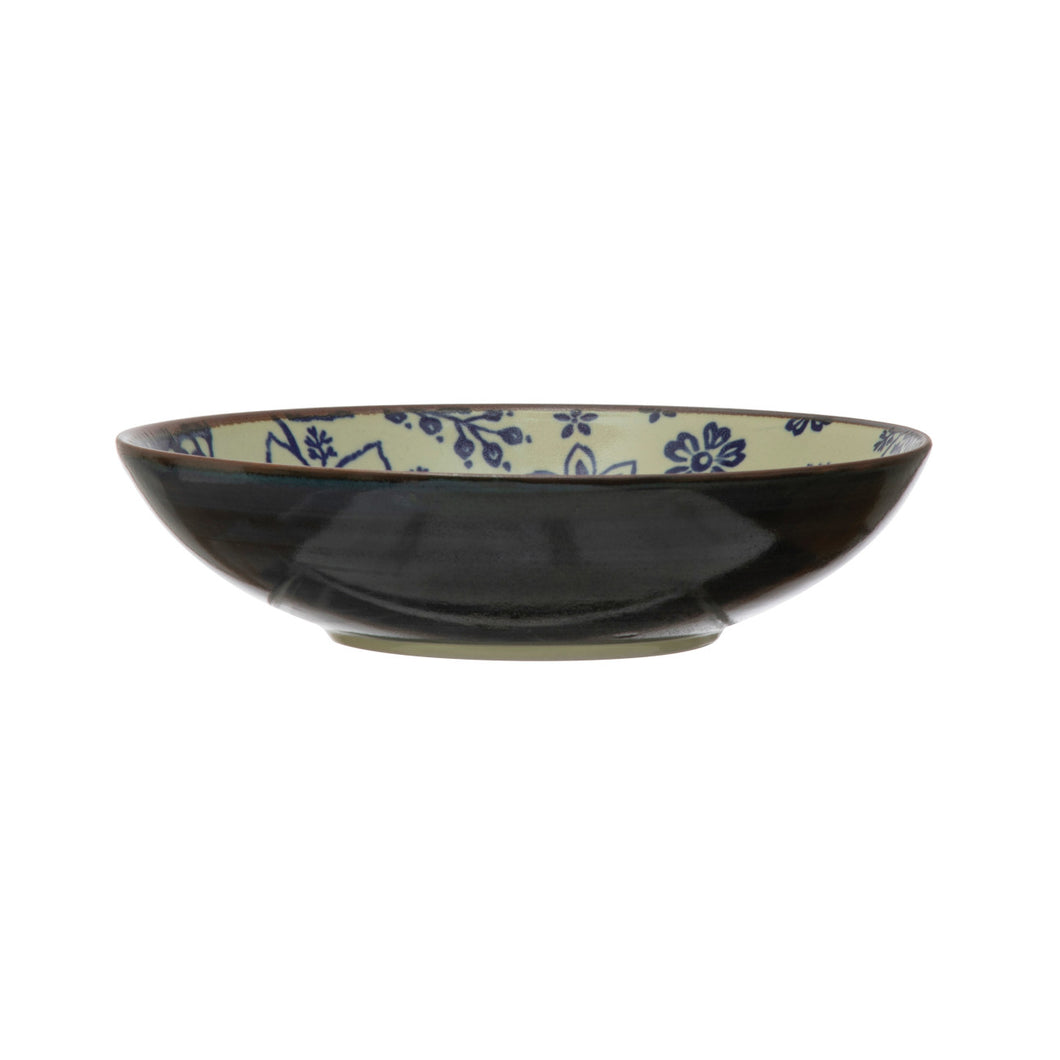 Stoneware Bowl with Pattern, Blue & Cream Color Default Title