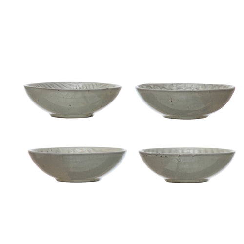 Debossed Stoneware Bowl, Reactive Glaze, Grey, 4 Styles (Each One Will Vary) Default Title