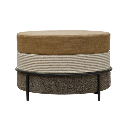 MDF & Fabric Upholstered Ottoman with Black Metal Legs, Multi Color Default Title