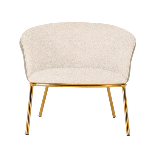 Bouclé Fabric Upholstered Chair, Ivory Color with Gold Finish Metal Legs Default Title
