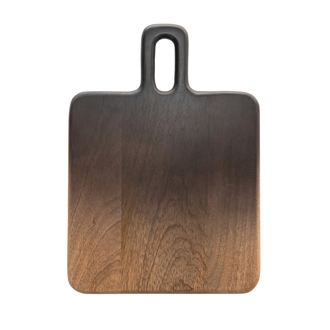 Mango Wood Cheese/Cutting Board with Handle, Black & Natural Ombre Default Title