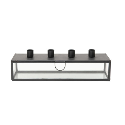 Metal & Glass Display Case with Taper Holder Lid, Black (Holds 4 Tapers) Default Title