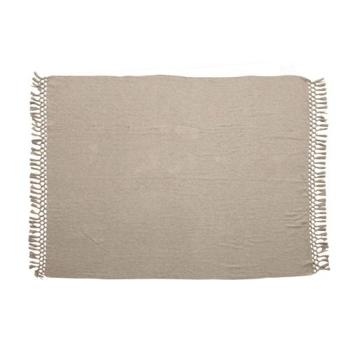 Woven Recycled Cotton Blend Throw with Tassels, Grey Default Title